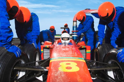 Racecar Driver at the Pit Stop