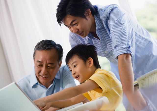 Family on Laptop