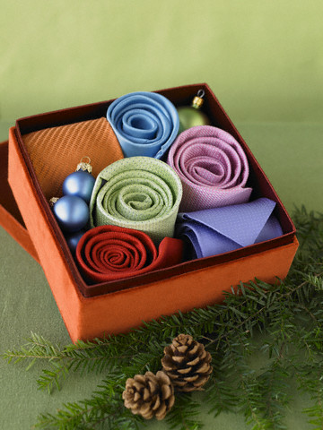 Colorful neckties in gift box