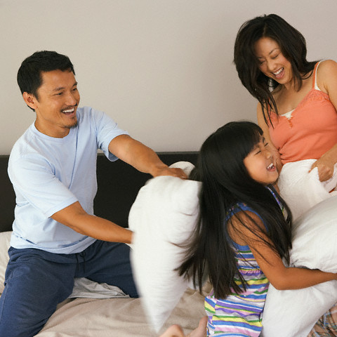 Family pillow fight