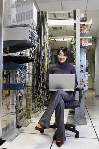Information technologist in server room
