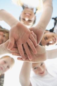 Classmates in a huddle