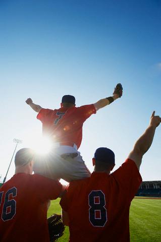 Baseball players celebrating