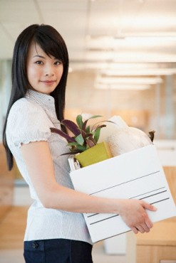 Businesswoman moving in office