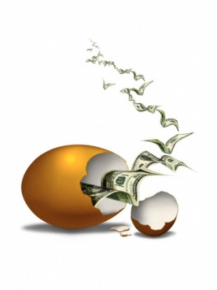 Digital image of broken egg with dollar banknotes flying from inside
