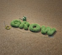 Leafy letters spelling out GROW