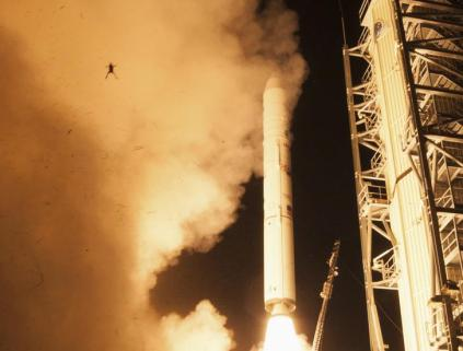 A frog is captured during a lift off of NASA's Lunar Atmosphere and Dust Environment Explorer from NASA's Wallops Flight Facility in Virginia