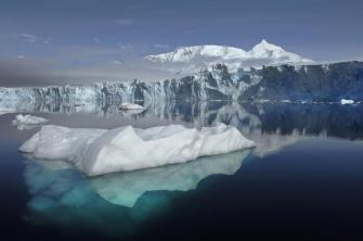 Handout picture showing the Sheldon Glacier with Mount Barre in the background, which is seen from Ryder Bay near Rothera Research Station, Adelaide Island
