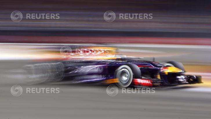 Red Bull Formula One driver Vettel drives during the second practice session of the Singapore F1 Grand Prix in Singapore