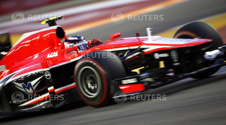 Marussia Formula One driver Chilton drives during the third practice session of the Singapore F1 Grand Prix in Singapore