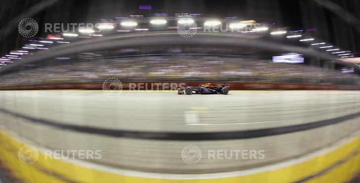 Red Bull Formula One driver Vettel races during the Singapore Grand Prix