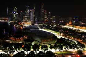 A general view shows part of the illuminated street circuit of the Singapore Formula One Grand Prix at night
