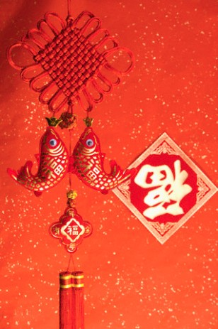 Chinese decoration and Chinese script for Chinese New Year
