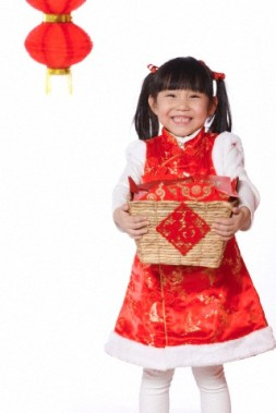 Girl holding red envelope