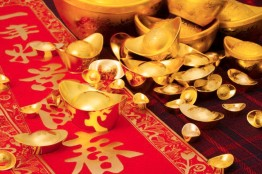 Chinese traditional currency gold yuanbao ingots and couplets for Chinese New Year