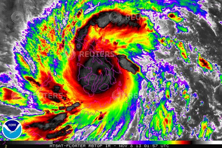Typhoon Haiyan is pictured in this NOAA satellite handout image