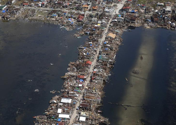 An aerial view of the devastation of super Typhoon Haiyan as it battered a town in Samar province in central Philippines