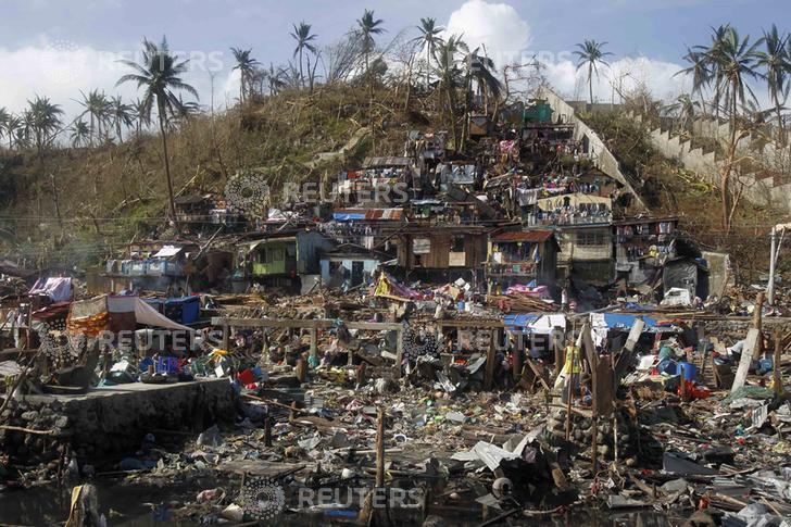 Houses living near the sea devastated by super typhoon Haiyan are seen in Tacloban