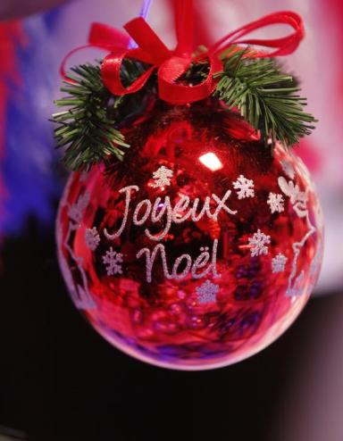 A Christmas tree decoration is seen at the traditional Christkindelsmaerik (Christ Child market) near Strasbourg Cathedral