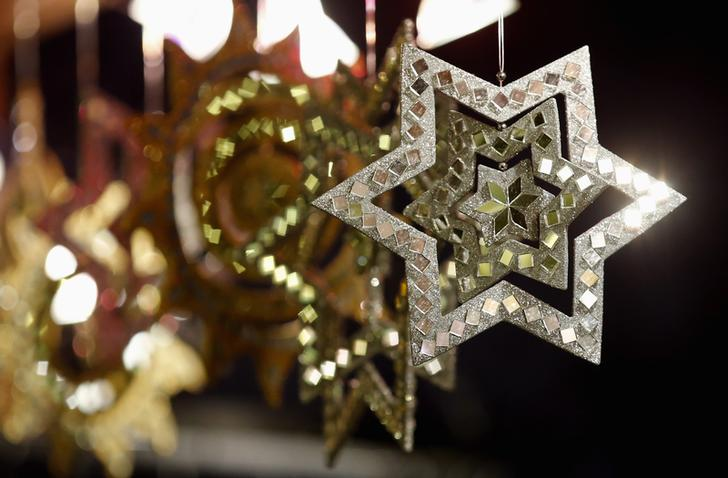 Christmas ornaments are pictured at the Christmas market in Gendarmenmarkt square in Berlin
