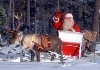 A Santa Claus is pulled by a reindeer through a snowy forest in Finnish Lapland dressed in his tra..