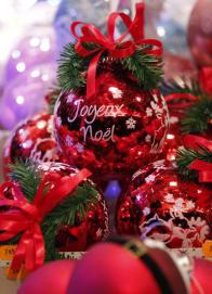 A Christmas tree decoration is displayed at the traditional Christkindelsmaerik (Christ Child market) in Strasbourg