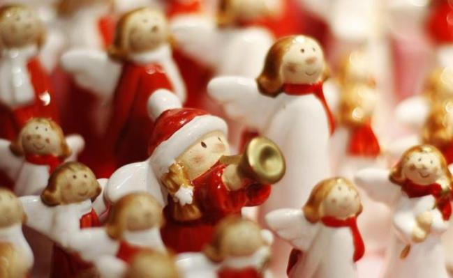 Christmas decorations are seen at a traditional Christmas market in Vienna