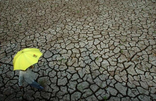 A woman walks on the dried-up river bed in southwest China's Chongqing Municipality August 16, 2006. At least 14 million people and 15 million livestock are suffering from a shortage of drinking water as continuous droughts and searing heat ravage western China, Xinhua News Agency reported. Picture taken August 16, 2006. CHINA OUT REUTERS/China Daily (CHINA)