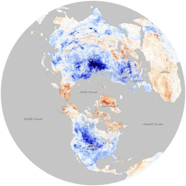 A satellite image shows the impact of the negative Arctic Oscillation on land surface temperatures throughout the Northern Hemisphere as observed by the Moderate Resolution Imaging Spectroradiometer (MODIS) on NASA's Terra satellite during December 2009. While much of the Northern Hemisphere has shivered in a cold snap in recent weeks, temperatures in the Arctic soared to unusually high levels, U.S. scientists reported. REUTERS/NASA Earth Observations (NEO) Project/Handout (UNITED STATES - Tags: ENVIRONMENT) FOR EDITORIAL USE ONLY. NOT FOR SALE FOR MARKETING OR ADVERTISING CAMPAIGNS