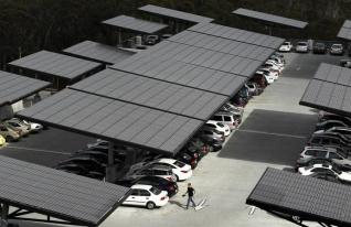 """A parking structure at the University of California San Diego uses innovative solar trees to collect renewable energy from the Sun February 8, 2011. Each """"Solar Tree"""" will generate more than 17,000 hours of clean energy per year, enough to power more than four single family homes and avoids 13.2 metric tons of carbon emissions. California aims to slow climate change by putting a price on carbon -- a low, low starting price. The program is the last, keystone step in a controversial half-decade push to green the state's business for the good of the planet and the economy. Picture taken February 8, 2011. To match Special Report CARBON-CALIFORNIA/ REUTERS/Mike Blake (UNITED STATES - Tags: ENERGY ENVIRONMENT)"""