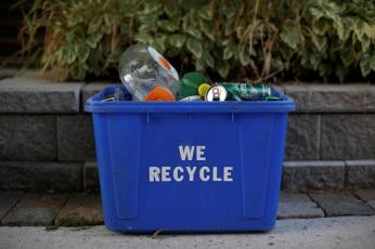 A recycling bin is pictured on a residential street in Ottawa, Ontario, Canada, August 17, 2017. REUTERS/Chris Wattie