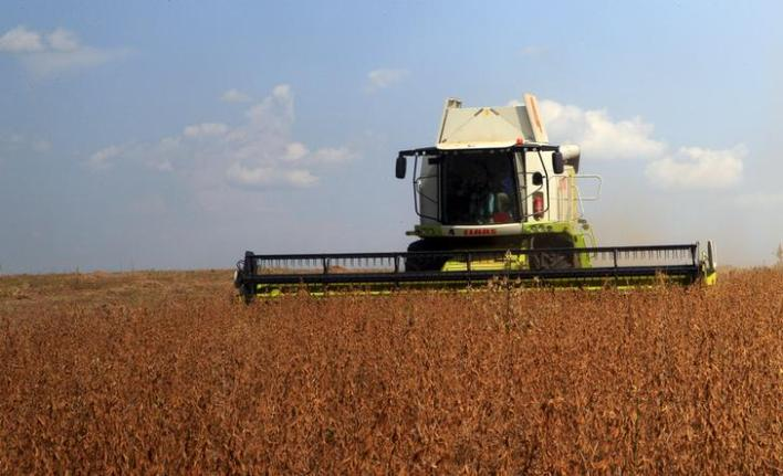 A combine harvester is seen collecting soya beans at Amatheon Agri farm in Nwoya district in northern Uganda, July 16, 2015. Picture taken July 16, 2015. To match Feature UGANDA-AGRICULTURE/ REUTERS/James Akena?