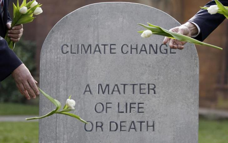 Campaigners throw flowers onto a mock grave during a climate change day of action in Coventry, central England March 19, 2009. REUTERS/Darren Staples (BRITAIN ENVIRONMENT SOCIETY)